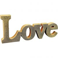 Malte bogstaver/kjærlighetsord med glitter